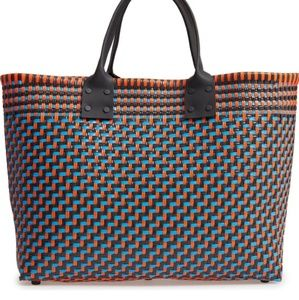 TRUSS Large Woven Tote orange brown Turquoise